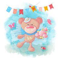 Urso de peluche bonito dos desenhos animados sobre fundo azul vetor