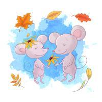 Rato bonito dos desenhos animados e folhas de outono. vetor
