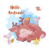 Veado bonito dos desenhos animados está dormindo com folhas e outono.