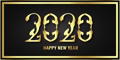 Feliz ano novo 2020, ano do rato em corte de papel metálico e estilo artesanal vetor