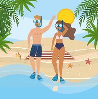Homem e mulher com máscaras de mergulho na praia vetor