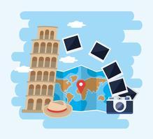 Torre inclinada de pisa com câmera e mapa do mundo vetor