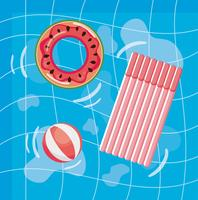 Vista aérea da piscina com bóia de melancia e jangada