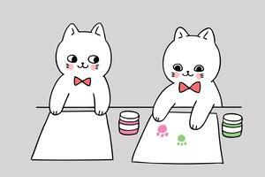 de volta à escola gato e pintura vetor