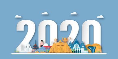 Feliz ano novo 2020, ano do rato em corte de papel e estilo artesanal com pontos de referência vetor