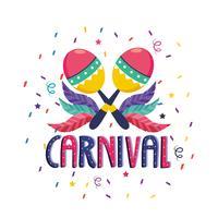 Cartaz de carnaval com maracas e confetes vetor