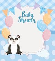 Rótulo de chuveiro de bebê com urso panda e balões vetor