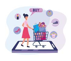 mulher com carrinho de compras e bolsas para tecnologia de comércio eletrônico vetor