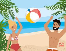 Mulher e homem com barba brincando com bola de praia vetor