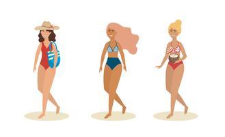 Conjunto de mulheres em trajes de banho com chapéu e bolsa vetor