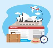 Casa de ópera de Sydney com bilhetes de avião e mala