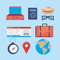 Conjunto de objetos de viagem e férias