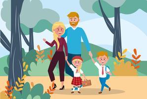 Pai e mãe com menina e menino indo para a escola vetor