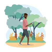 Homem afro-americano olhando para smartphone no parque vetor