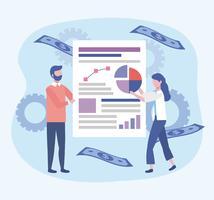 Empresária e empresário com documento com diagrama vetor