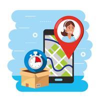 Rastreamento de localização por GPS para smartphone com agente de call center vetor