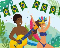 Músico de carnaval masculino e feminino e dançarino e banner de bandeira vetor