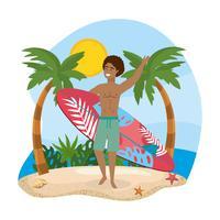 Homem com prancha acenando na praia vetor