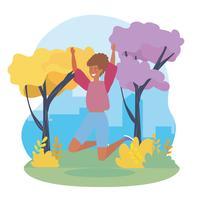 Mulher pulando no parque urbano vetor