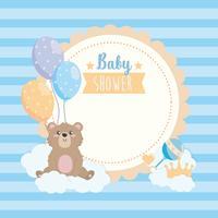 Rótulo de chuveiro de bebê com ursinho de pelúcia e balões vetor