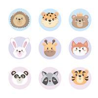 Conjunto de animais dos desenhos animados de bebê no fundo branco vetor