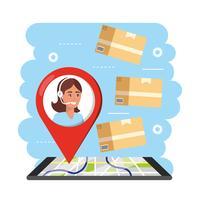 Agente de atendimento ao cliente com marcador de localização no mapa com pacotes vetor