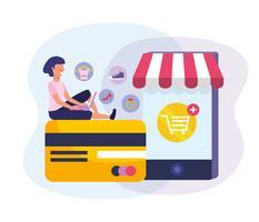Mulher com laptop no cartão de crédito com smartphone compras online vetor