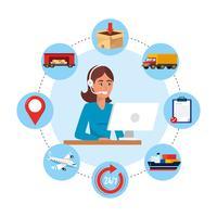 Agente de call center feminino com objetos de serviço de computador e entrega