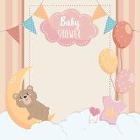 Cartão de chuveiro de bebê com ursinho de pelúcia e lua