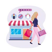 Mulher com sacolas de compras e mercado on-line