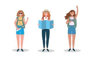Conjunto de mulheres turísticas com mapas, câmera e mochilas vetor