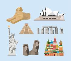 Conjunto de monumentos famosos de destino