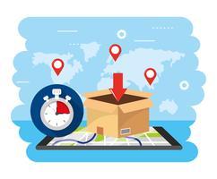 Caixa de entrega com cronômetro e mapa