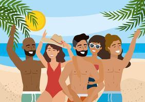 Grupo de diversos jovens homens e mulheres na praia