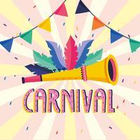 Cartaz de carnaval com trompete e penas