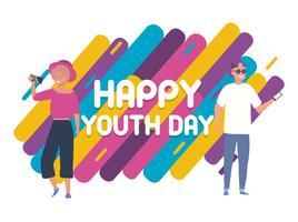 Cartaz do dia feliz juventude com jovem homem e mulher vetor