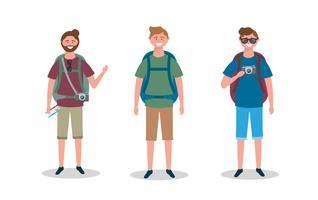 Conjunto de homens de turista com mochilas