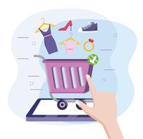 Tablet compras on-line com carrinho e mercadoria