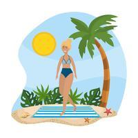 Mulher, desgastar, fato de banho, ficar, ligado, toalha praia vetor