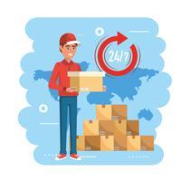 Entregador com caixa e pilha de pacotes