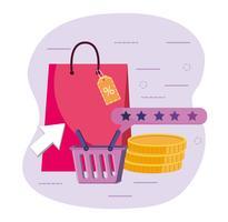 Sacola de compras com cesta e moedas vetor