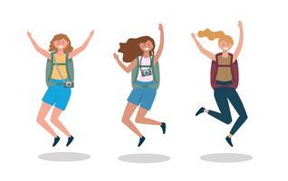 Conjunto de turistas femininas com mochilas pulando