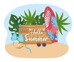 Olá mensagem de verão na placa de madeira com prancha de surf e roupa de banho vetor