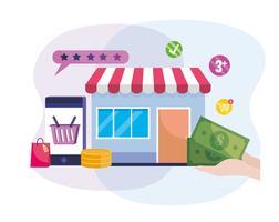 Mercado digital com smartphone e dinheiro vetor
