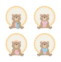 Conjunto de rótulos de ursinho de pelúcia vetor