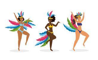 Conjunto de dançarinas de carnaval em trajes tradicionais vetor
