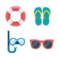 Conjunto de objetos de férias de verão vetor