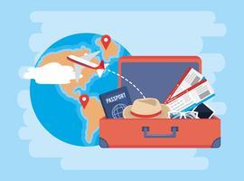 Mala com bilhetes de passaporte, chapéu e avião vetor