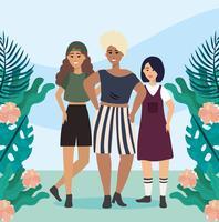 Jovens diversas mulheres com plantas e flores vetor