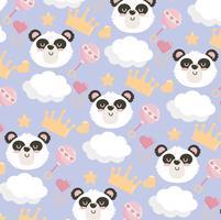 Plano de fundo sem emenda com cabeça de panda, nuvens, chocalhos e coroas vetor
